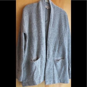 Ann Taylor Loft cozy gray open cardigan sweater MP